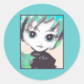 Neko Girl, Oko Fairy, round adhesive stickers Round Stickers