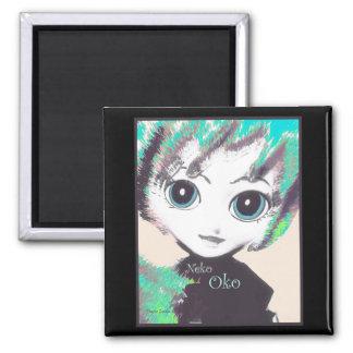 Neko Girl, Oko, fridge or cabinet, square magnet Magnet