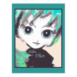 Neko Girl, Oko, invitations or Postcards templates Post Card