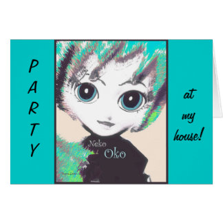 Neko Girl, Oko, party invite or greeting cards Card