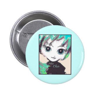 Neko Girl, Oko, round pin (brooch button) Pinback Buttons