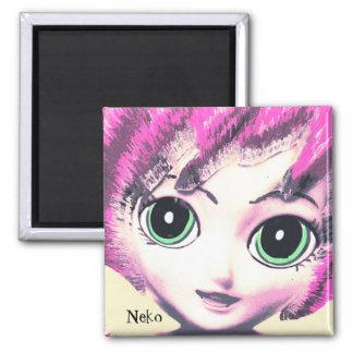 Neko Girl Pink, Colourful Fantasy Art, Magnet Refrigerator Magnet