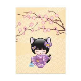 Neko Kokeshi Doll - Cat Ears Geisha Girl Canvas Print