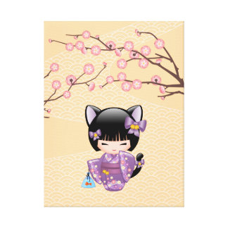 Neko Kokeshi Doll - Cat Ears Geisha Girl Canvas Print