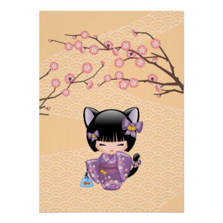 Neko Kokeshi Doll - Cat Ears Geisha Girl Poster