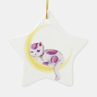 Neko Moon Ceramic Ornament