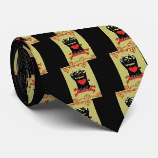Neko negro con los corazones corbata personalizada