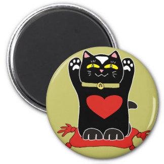 Neko negro con los corazones imán redondo 5 cm