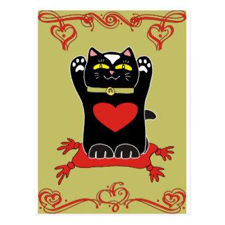 Neko negro con los corazones tarjeta postal