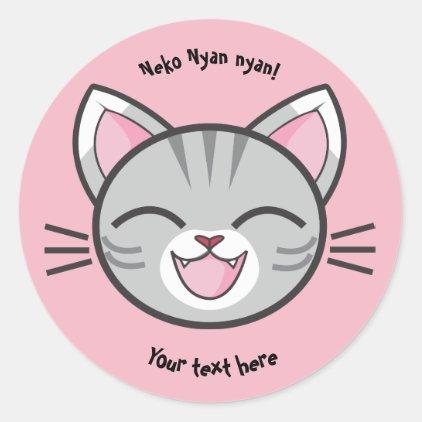 Neko Nyan Nyan Round Stickers (Add your own text)