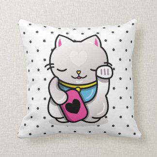 neko polka dots throw pillow