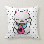 neko polka dots throw pillows