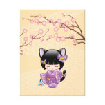 Nekomimi Kokeshi Doll - Cat Ears Neko Geisha Girl Canvas Print