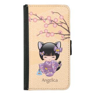 Nekomimi Kokeshi Doll - Cat Ears Neko Geisha Girl Wallet Phone Case For Samsung Galaxy S5
