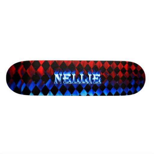Nellie blue fire Skatersollie skateboard.