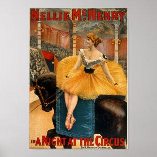Nellie McHenry en noche de A en la lona del circo Póster