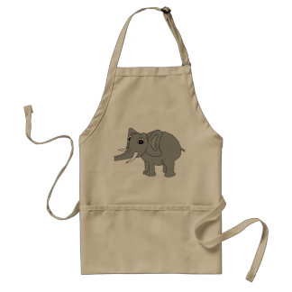 """""""Nellie"""" the elephant (black and white) Adult Apron"""