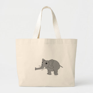 """""""Nellie"""" the elephant (black and white) Large Tote Bag"""