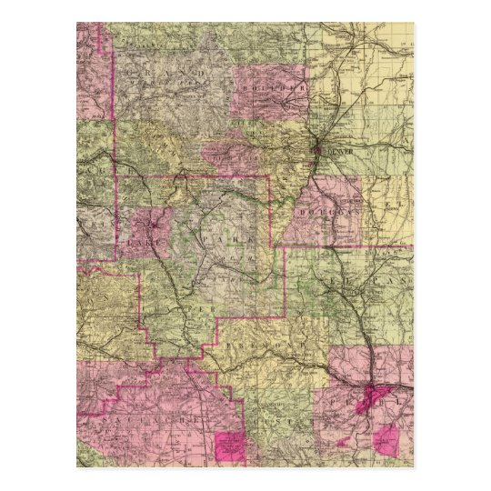 Nell's Topographical Map of Colorado Postcard