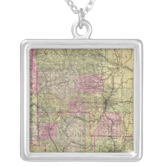 Nell's Topographical Map of Colorado Silver Plated Necklace