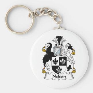 Nelson Family Crest Basic Round Button Keychain