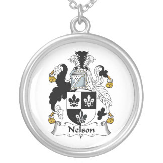 Nelson Family Crest Round Pendant Necklace