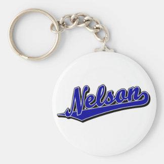Nelson in Blue Basic Round Button Keychain