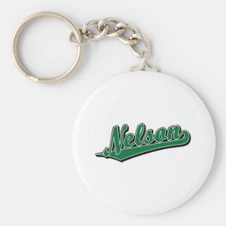Nelson in Green Basic Round Button Keychain