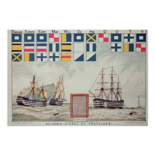 Nelson's signal at Trafalgar Posters