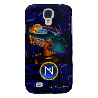 NEMES /HYPER ANDROIDE, monograma azul de la Carcasa Para Galaxy S4