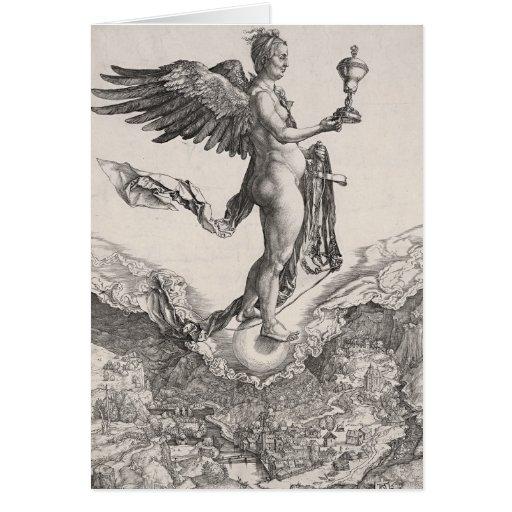 Némesis, grabando por Albrecht Durer Tarjeta De Felicitación