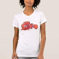 Women's American Apparel Fine Jersey Short Sleeve T-Shirt with Cute Nemo of Finding Nemo design