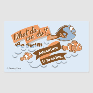 Nemo, Marlin & Dory | Adventure is Brewing Rectangular Sticker