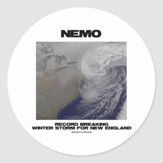 Nemo Record Breaking Winter Storm For New England Classic Round Sticker