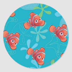 Round Sticker with Cute Nemo of Finding Nemo design