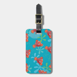Small Luggage Tag with leather strap with Cute Nemo of Finding Nemo design