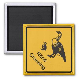 Nene Crossing, Traffic Warning Sign, Hawaii, USA 2 Inch Square Magnet