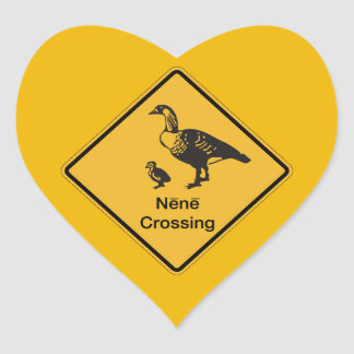 Nene Crossing, Traffic Warning Sign, Hawaii, USA Heart Sticker
