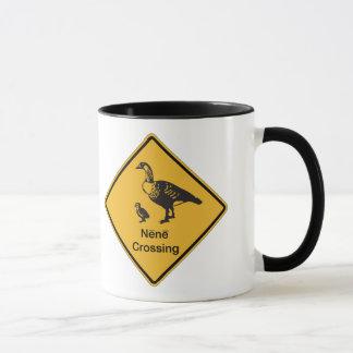 Nene Crossing, Traffic Warning Sign, Hawaii, USA Mug