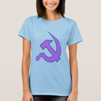 Neo Dark Lilac & Blue Hammer & Sickle on Lilac T-Shirt