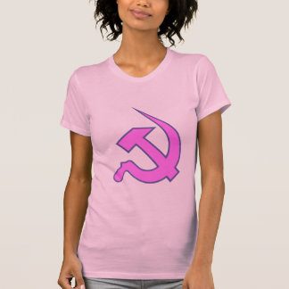 Neo Dark Lilac & Blue Hammer & Sickle on Pink T-Shirt