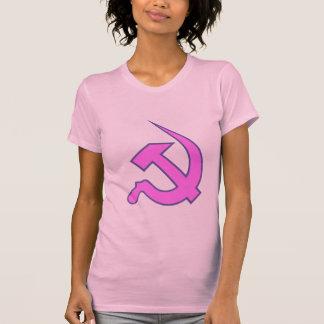 Neo Dark Lilac & Blue Hammer & Sickle on Pink Tee Shirt