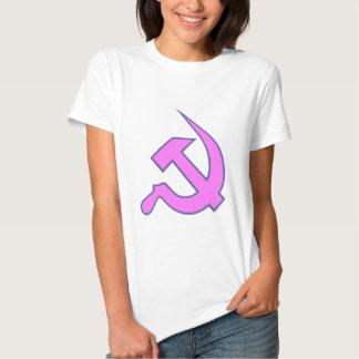 Neo Dark Lilac & Blue Hammer & Sickle on White T-shirt