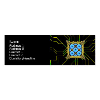 Neo Flower Pattern Big Inverted Double-Sided Mini Business Cards (Pack Of 20)
