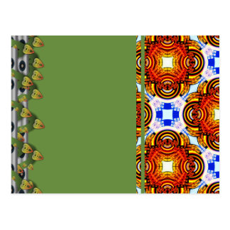 Neo Flower Pattern Big Postcard