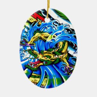 Neo Jap Dragon Tattoo Ceramic Ornament