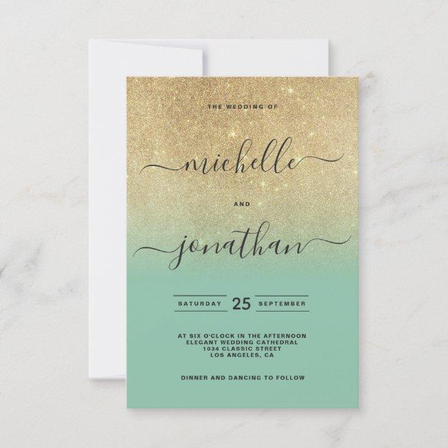 Neo mint gold gradient glitter photo wedding invitation