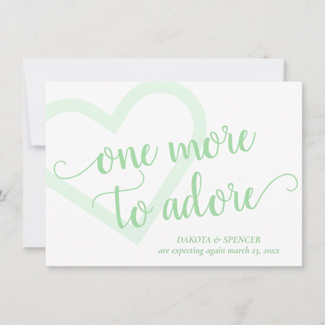 Neo Mint Green Heart | One More to Adore New Baby Announcement