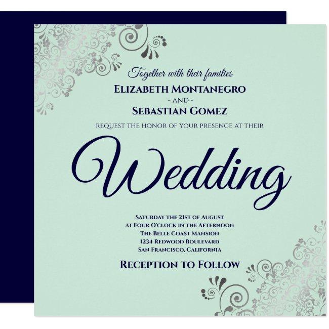 Neo Mint Green & Navy Blue Elegant Square Wedding Invitation