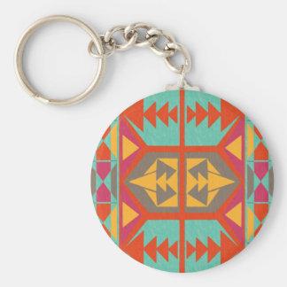 Neo Native Tribal Basic Round Button Keychain